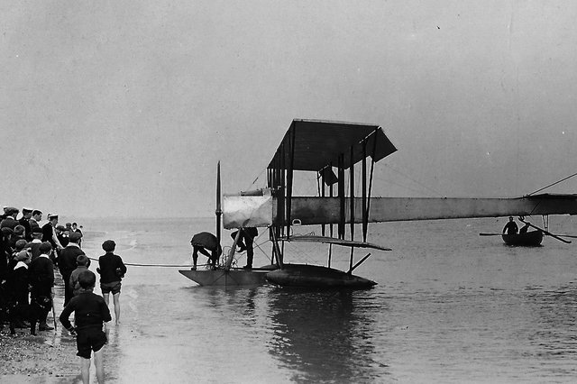 A hydroplane (seaplane) off Eastney beach 1919. Picture: Barry Cox collection.