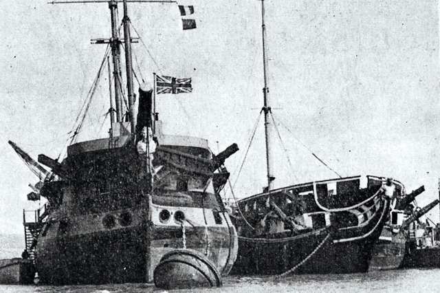 A survivor from the Battle of Trafalgar, the Duguay Trouin, left, renamed Implacable, alongside Foudroyant at Portchester Trot.