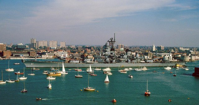 Seen passing Point in 1989 is the American battleship the USS Iowa. Picture: Graham Stevens
