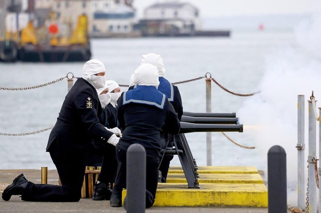Sailors in Portsmouth performing the 41-gun salute on Saturday to mark the death of Prince Philip. Photo: Royal Navy