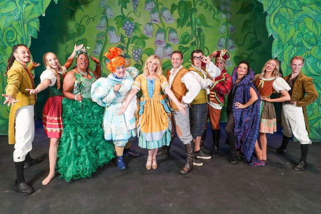 Launch of the Kings Theatre panto, Jack and the Beanstalk. From third on the left: Marlene Little Hill, Jack Edwards, Amy Hart, Sean Smith, James Percy, Peter McCrohon and Julia Worsley. Picture: Stuart Martin (220421-7042)