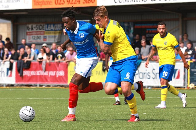 Sam Magri, right, in action for Hawks against Pompey. Picture: Paul Collins
