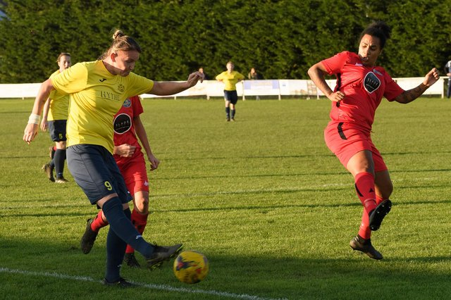 Sheree Bell-Jack, left, struck twice as Moneyfields hammered Woodley 9-0 on their way to the Subsidiary Cup final against Abingdon. Picture: Keith Woodland