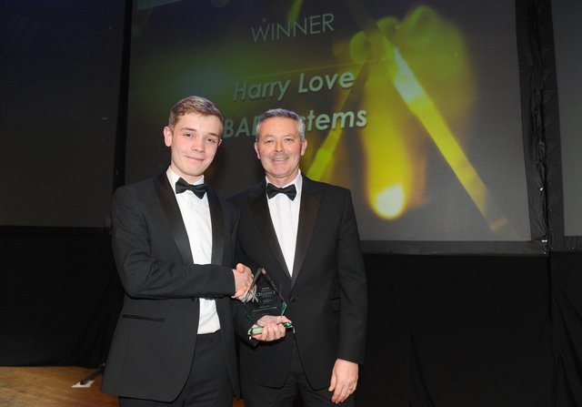 Simon Barrable, principal of Portsmouth College with Harry Love from BAE Systems who won the Apprentice of the Year Award 2020.