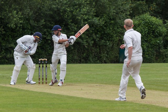Purbrook 2nds bowler Sam Brown beats the bat during his side's loss to Portsmouth & Southsea 3rds. Picture: Mike Cooter