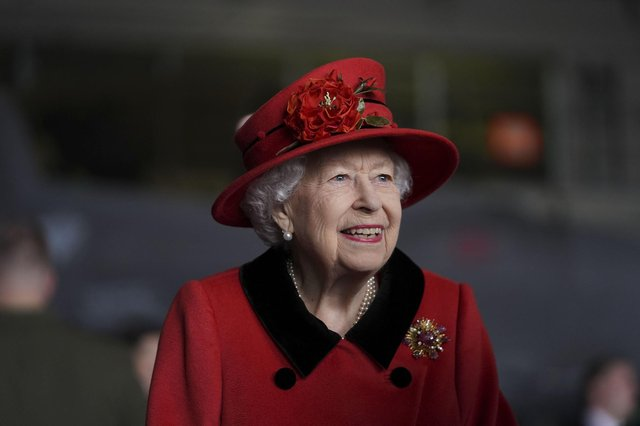 Queen Elizabeth II during a visit to HMS Queen Elizabeth at HM Naval Base ahead of the ship's maiden deployment on May 22, 2021 in Portsmouth, England. Photo by Steve Parsons - WPA Pool / Getty Images