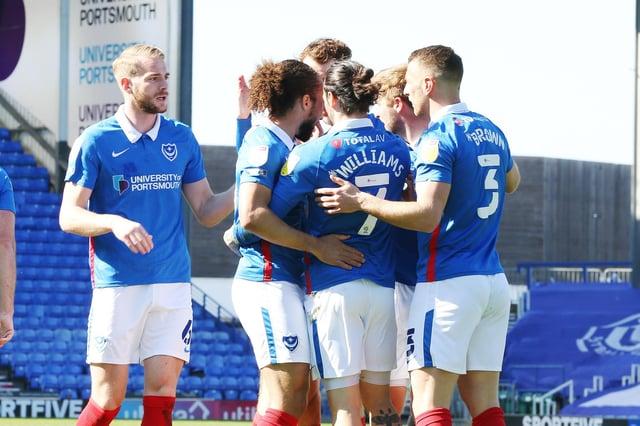 Pompey celebrate Ryan Williams' goal in their win over Rochdale. Picture: Joe Pepler
