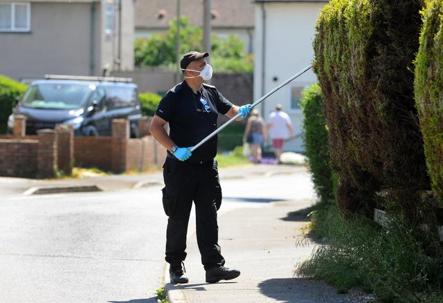 Police at the scene in Tichborne Grove, Leigh Park, on Monday, May 25, where a young man named George Allison was stabbed on Saturday evening, May 23. Picture: Sarah Standing (250520-2737)