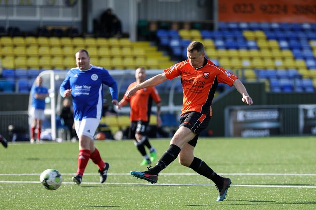 Pete Sanderson, pictured scoring for AFC Portchester Vets in a friendly at Westleigh Park, is preparing for his fourth charity challenge since the first lockdown was implemented. Picture: Chris Moorhouse