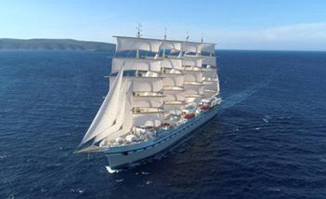 The Golden Horizon, the world's largest luxury sailing ship, was due to set off on her maiden voyage from Portsmouth in June. Photo:  Tradewind Voyages