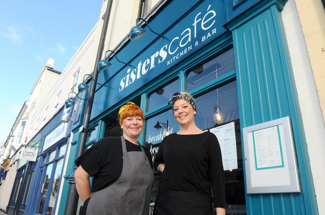 Sisters Sarah and Abby Simmons officially opened Sisters Cafe in Marmion Road, Southsea, on Saturday, October 31.Pictured is: (l-r) Abby Simmons (39) and her sister Sarah Simmons (36).Picture: Sarah Standing (021120-7449)