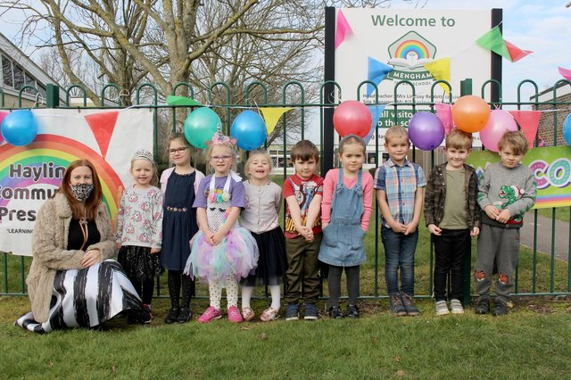 Mengham Infant School in Hayling Island, returned to school on Monday, March 8. Headteacher Lindsay Rebbitt with some of the Year R pupils. Picture: Emily Turner