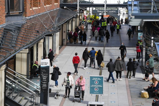 Shoppers return to Gunwharf Quays on April 12, 2021. Picture: Finnbarr Webster/Getty Images