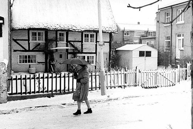 Alverstoke Village, thatched cottage, Gosport, January 1982.
