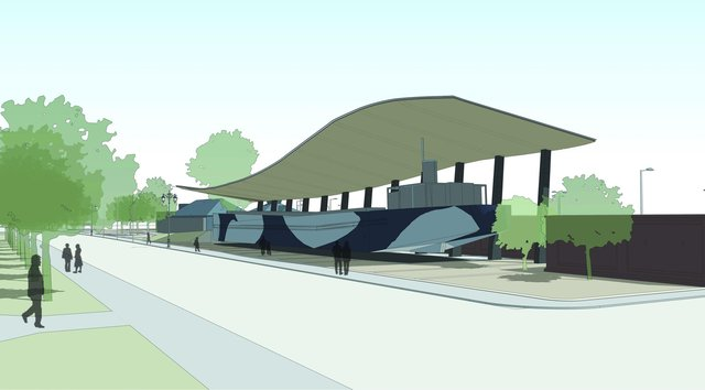 Artist impression of final resting place of The National Museum of the Royal Navy's LCT 7074 outside the D-Day Story Southsea. Picture: Pritchard Architecture