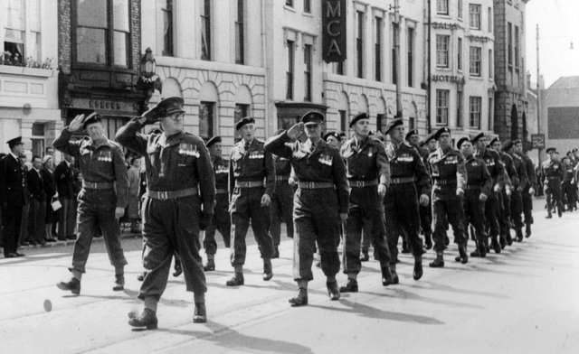 The Home Guard marching in High Street Old Portsmouth