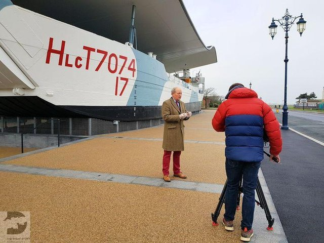 Bargain Hunt presenter Charlie Ross pictured filming outside the D-Day Story museum in Southsea. Photo: D-Day Story