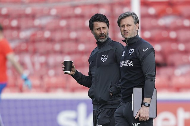 Pompey head coach Danny Cowley, left, with brother Nicky.