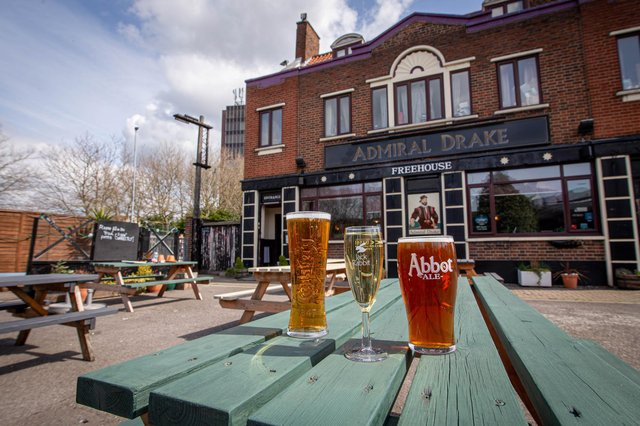The Admiral Drake in North End, Portsmouth has turned some of its car parking space into an outdoor area that seats 100 people.It reopened on April 12.