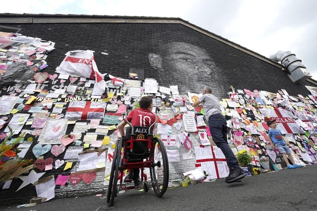 The thousands of messages of support attached to the mural of Manchester United and England player Marcus Rashford. Picture: PA