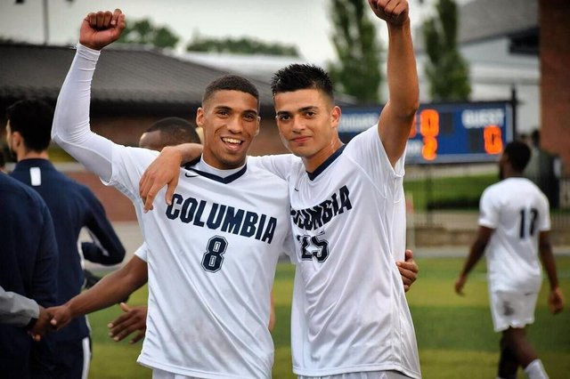 Casey Bartlett Scott, left, during his time at Columbia College in America.