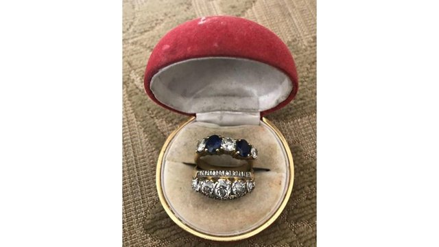 These rings were stolen from the couple last week - the third time they have been burgled in four years. Picture: Hampshire Constabulary