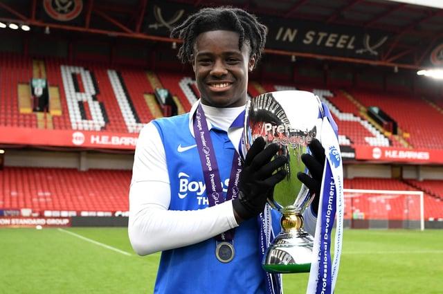 Jayden Reid celebrates after helping Birmingham claim the Premier Development League title. Picture: George Wood/Getty Images