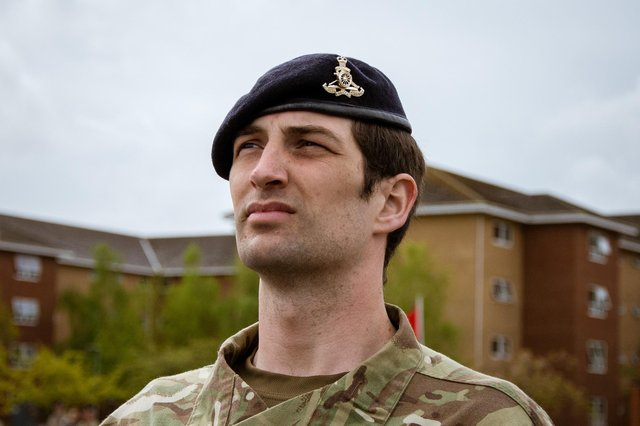 Reporter Tom Cotterill pictured during his passing out parade at ATU Pirbright. Photo: Cpl Callum Harris