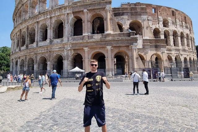 Gosport boxer Matt King pictured outside the Coliseum in Rome