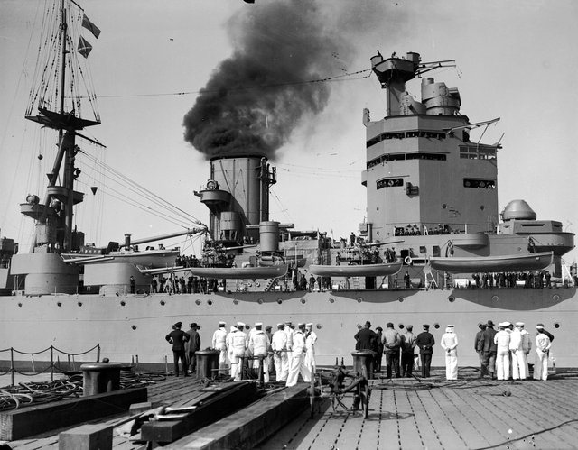 April 1929: The HMS Nelson approaches dock. (Photo by Fox Photos/Getty Images)