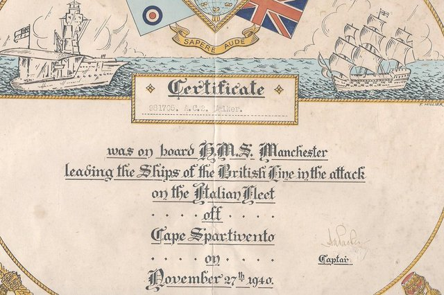 The certificate awarded to non-naval servicemen on board HMS Manchester during battle. Picture: Daphne Smith collection