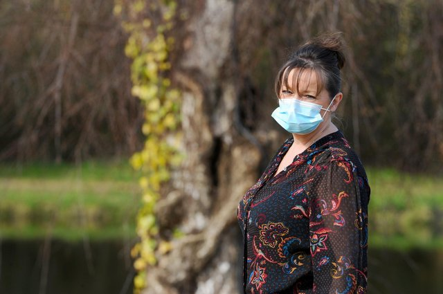 Lisa still experiences burning in her chest and fatigue a year after initially falling ill. Picture: Sarah Standing