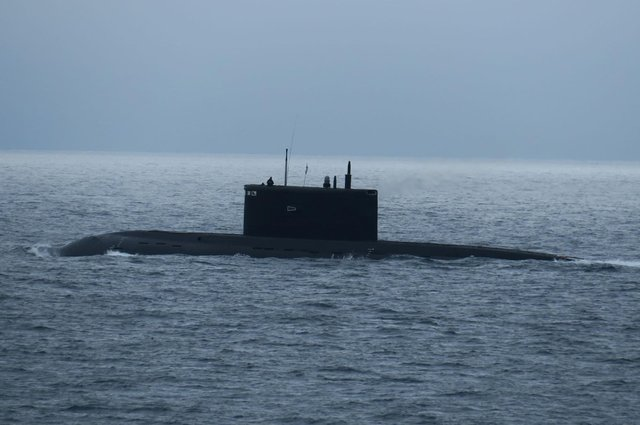 The Russian Kilo-class submarine Krasnodar during HMS Tyne's operation to monitor the vessel in the English Channel