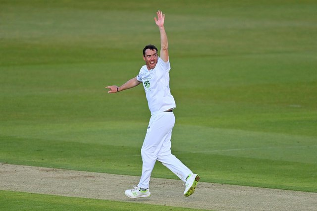 Kyle Abbott now has 33 Championship wickets in seven  games in 2021. Photo by Dan Mullan/Getty Images.