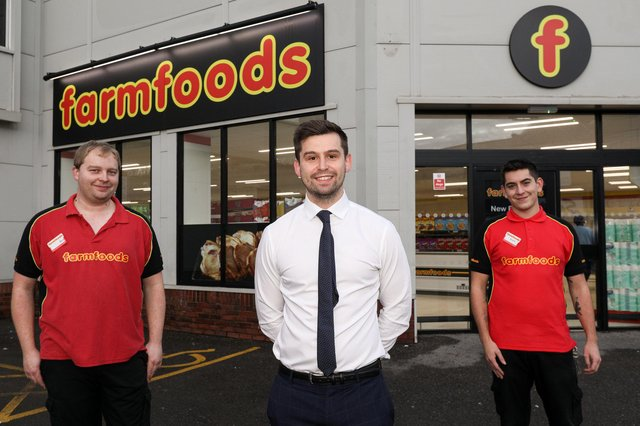 From left, manager Ben Williams, area manager Ryan Martin and assistant manager Kurt Page. Farmfoods on Fratton Rd has reopened after being refurbishedPicture: Chris Moorhouse      (121220-01)