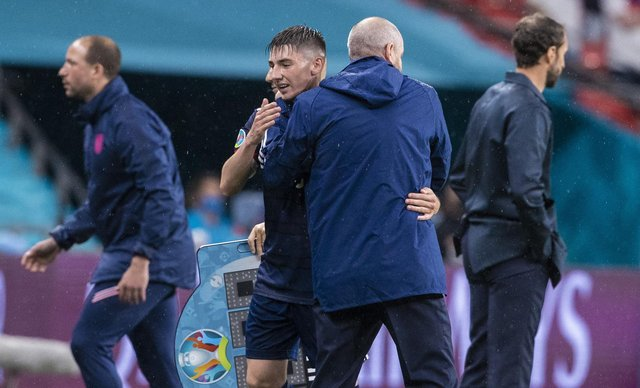 Scotland's Billy Gilmour and head coach Steve Clarke embrace following the goalless draw with England. Picture: Alan Harvey/SNS Group