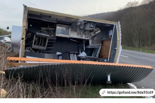 Alfie Jameson's trailer after the crash