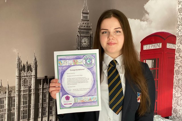 Ukranian student Melania Greentree, who goes to Henry Cort Community College in Fareham and is the first student in Hampshire to receive the Heritage Honours Award from Hampshire County Council