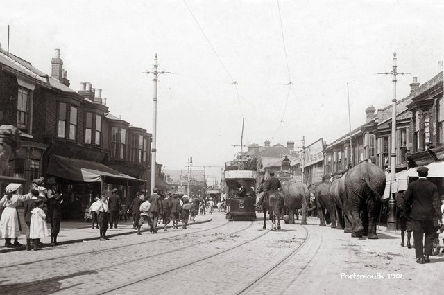 Looking north up Fawcett Road in the summer of 1906 and the circus was in town. Picture: costen.co.uk
