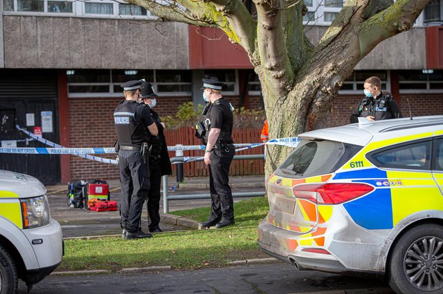Police near Pickwick House in Portsmouth on January 11, 2021. Picture: Habibur Rahman