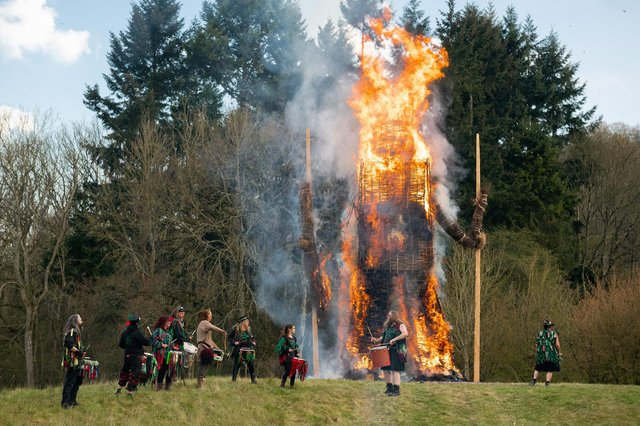 Druids perform the traditional burning of the famous Wickerman. Picture: Jordan Pettitt/Solent News & Photo Agency