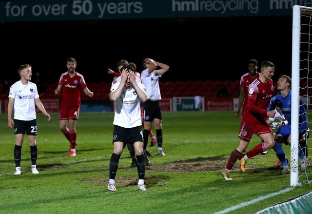 John Marquis after his Accrington own goal. Photo credit should read: Martin Rickett/PA Wire.