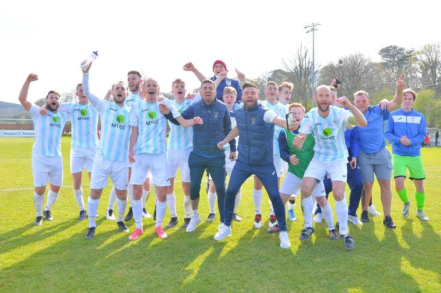 US Portsmouth celebrate their FA Vase fifth round victory at Tavistock last weekend. Picture: Martyn White.