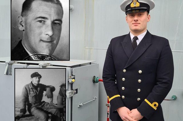 Sub Lieutenant Ben Hoffmeister, with his grandfathers Ernest Hoffmeister, top, and Erwin Menzel, bottom, who fought on opposing sides in the Second World War. Sub Lt Hoffermeister will sail on Portsmouth-based ship HMS Trent next week.