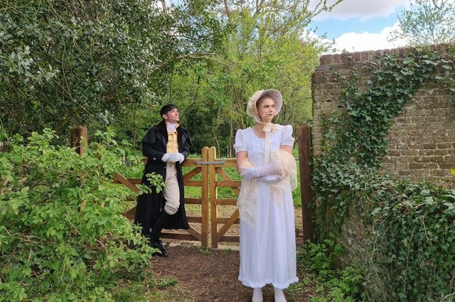Charlotte Thomas as Emma and Jonathon Fost as Mr Knightley in CCADS adaptation of Jane Austen's Emma, playing at various outdoor venues, summer 2021.