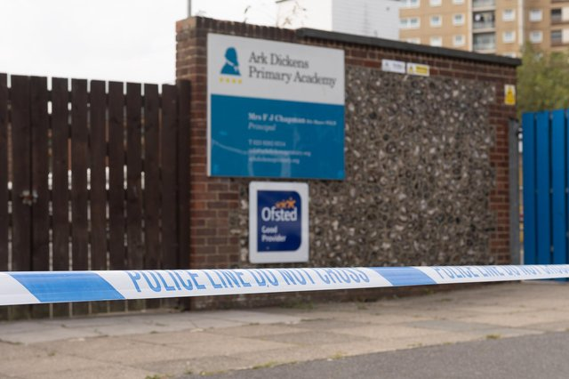 Police cordoned off Ark Dickens school while investigating on Sunday, September 20.  Picture: Keith Woodland (200920-6)