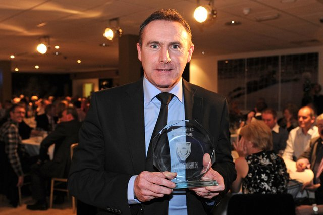 Alan McLoughlin with his award after being inducted into the Pompey Hall of Fame in 2011. Picture: Picture: Ian Hargreaves