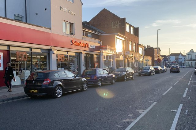 Cars parked on double yellow lines in Albert Road, Southsea