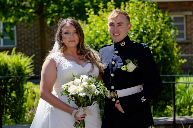 Pictured: Lance Corporal Jake Kennedy & Petty Officer Naval Nurse (QARNNS) Jo Parke at their marriage at St Ann's Church.