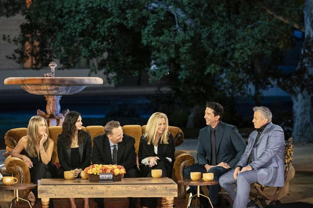 Jennifer Aniston, Courteney Cox, Lisa Kudrow, Matt LeBlanc, Matthew Perry and David Schwimmer reunited for a one-off special. Picture: Terence Patrick/HBO Max/PA Wire
